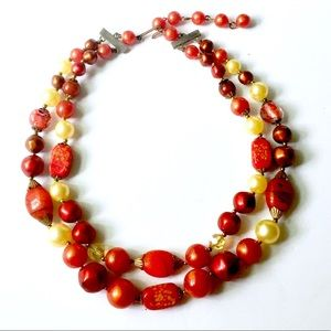 Vintage Double Strand Orange Necklace